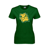 Ladies Dark Green T Shirt-Lion Head Distressed