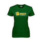 Ladies Dark Green T Shirt-Baseball