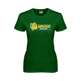 Ladies Dark Green T Shirt-Soccer