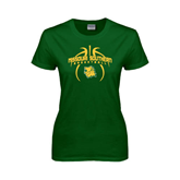 Ladies Dark Green T Shirt-Design in Basketball