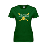 Ladies Dark Green T Shirt-Softball Crossed Bats Design