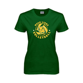 Ladies Dark Green T Shirt-Volleyball Circle Design