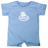 Light Blue Infant Romper-MSSU Lions w/Lion Head On Top