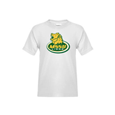 Youth White T Shirt-MSSU Lions w/Lion Head On Top