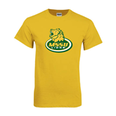Gold T Shirt-MSSU Lions w/Lion Head On Top