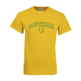 Gold T Shirt-Arched Southern w/Lion Head