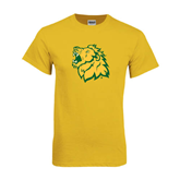 Gold T Shirt-Lion Head Distressed