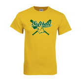 Gold T Shirt-Softball Crossed Bats Design