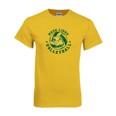 Gold T Shirt-Volleyball Circle Design