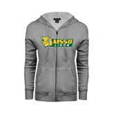 ENZA Ladies Grey Fleece Full Zip Hoodie-MSSU Lions w/Lion Head
