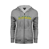 ENZA Ladies Grey Fleece Full Zip Hoodie-Arched Missouri Southern