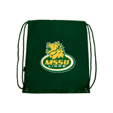 Dark Green Drawstring Backpack-MSSU Lions w/Lion Head On Top