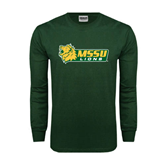 Dark Green Long Sleeve T Shirt-MSSU Lions w/Lion Head