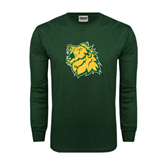 Dark Green Long Sleeve T Shirt-Lion Head Distressed