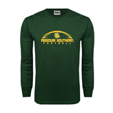 Dark Green Long Sleeve T Shirt-Arched Football Design