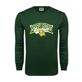 Dark Green Long Sleeve T Shirt-Baseball Crossed Bats Design