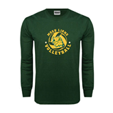 Dark Green Long Sleeve T Shirt-Volleyball Circle Design