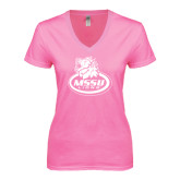 Next Level Ladies Junior Fit Ideal V Pink Tee-MSSU Lions w/Lion Head On Top
