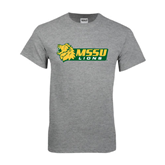 Grey T Shirt-MSSU Lions w/Lion Head