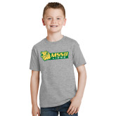 Youth Grey T-Shirt-MSSU Lions w/Lion Head