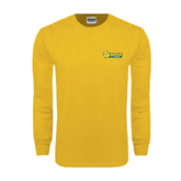Gold Long Sleeve T Shirt-MSSU Lions w/Lion Head