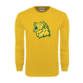 Gold Long Sleeve T Shirt-Lion Head Distressed