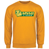 Gold Fleece Crew-MSSU Lions w/Lion Head
