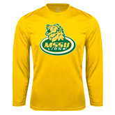 Syntrel Performance Gold Longsleeve Shirt-MSSU Lions w/Lion Head On Top