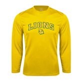 Performance Gold Longsleeve Shirt-Arched Lions w/Lion Head