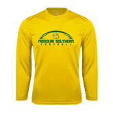 Performance Gold Longsleeve Shirt-Arched Football Design