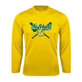 Syntrel Performance Gold Longsleeve Shirt-Softball Crossed Bats Design