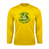 Syntrel Performance Gold Longsleeve Shirt-Volleyball Circle Design