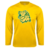 Syntrel Performance Gold Longsleeve Shirt-Lion Head