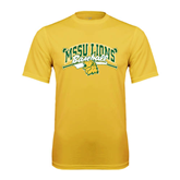 Performance Gold Tee-Baseball Crossed Bats Design