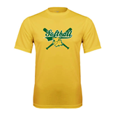 Syntrel Performance Gold Tee-Softball Crossed Bats Design