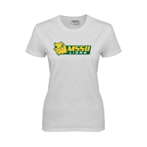 Ladies White T Shirt-MSSU Lions w/Lion Head