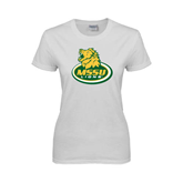Ladies White T Shirt-MSSU Lions w/Lion Head On Top