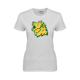 Ladies White T Shirt-Lion Head Distressed