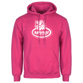 Fuchsia Fleece Hoodie-MSSU Lions w/Lion Head On Top