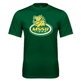 Performance Dark Green Tee-MSSU Lions w/Lion Head On Top