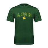 Performance Dark Green Tee-Arched Lions w/Lion Head