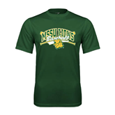 Performance Dark Green Tee-Baseball Crossed Bats Design