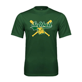Performance Dark Green Tee-Softball Crossed Bats Design