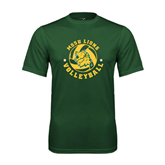 Performance Dark Green Tee-Volleyball Circle Design