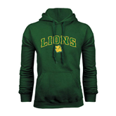 Dark Green Fleece Hood-Arched Lions w/Lion Head