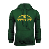 Dark Green Fleece Hood-Arched Football Design