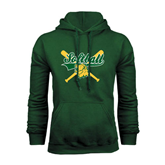 Dark Green Fleece Hood-Softball Crossed Bats Design