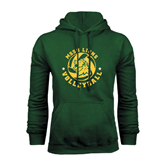Dark Green Fleece Hood-Volleyball Circle Design