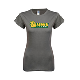 Ladies Softstyle Junior Fitted Charcoal Tee-MSSU Lions w/Lion Head