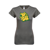 Next Level Ladies SoftStyle Junior Fitted Charcoal Tee-Lion Head